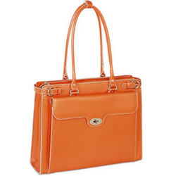 Orange Leather Briefcase with Removable Laptop Sleeve