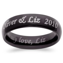 Men's Black Tungsten Outside/Inside Engraved Message Band