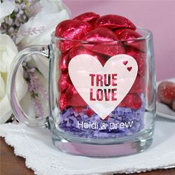 Engraved True Love Glass Mug with Chocolate Hearts