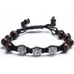 Shamballa Inspired Trinity Bead Wooden Bracelet