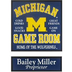 Michigan Game Room Football Sign