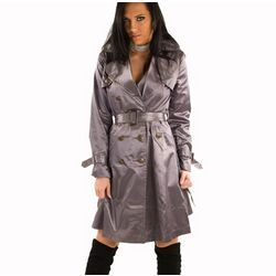 Silver Metallic Belted Trench Coat
