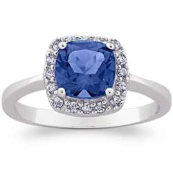 Sterling Silver Created Sapphire and Cubic Zirconia Ring
