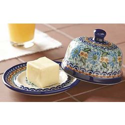 Polish Pottery Ceramic Handpainted Butter Dish