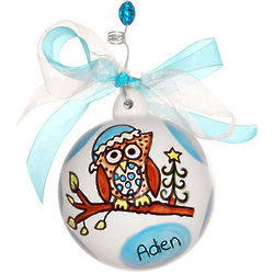 Baby's 1st Christmas Blue Owl Ceramic Ball Ornament