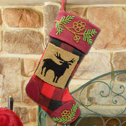 Country Deer Plaid Christmas Stocking