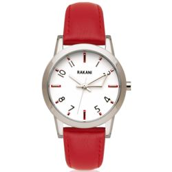 +5 White with Red Leather Band Watch