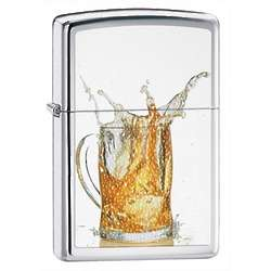 Personalized Splashing Beer High Polish Chrome Zippo Lighter