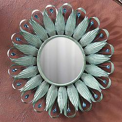 Teal Sunburst Mirror