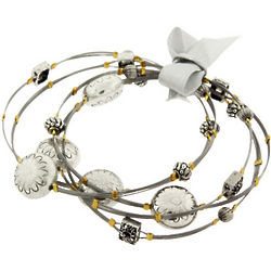 Silver Daisies Wire Bangle Bracelets