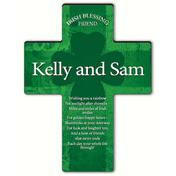 Personalized Irish Friend Blessing Shamrock Cross