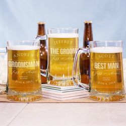 Groomsmen's Engraved Glass Mug