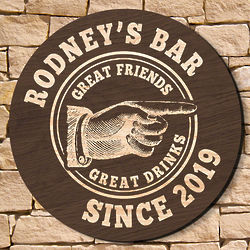 "15"" Classic Bar Custom Round Wooden Welcome Sign"