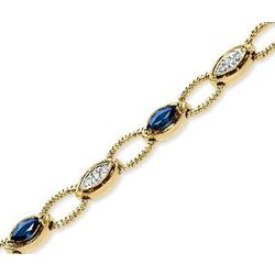 14k Yellow Gold Diamond Blue Sapphire Bracelet