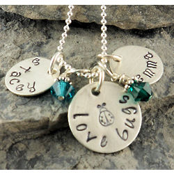 Personalized Love Bugs Hand Stamped Necklace