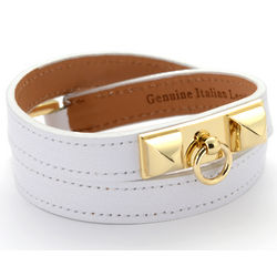 Leather Pyramid Stud Wrap Bracelet
