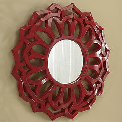 Lacquered Red Starburst Mirror
