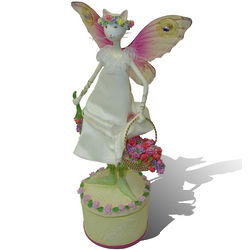Musical Cat Fairy Figurine with Flower Basket