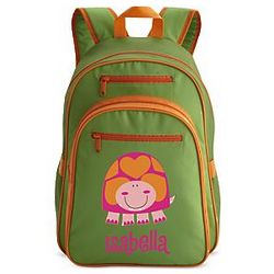 Large Green Personalized Heart Turtle Backpack
