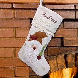 Embroidered Santa Christmas Stocking