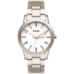 +5 White with Stainless Steel Watch