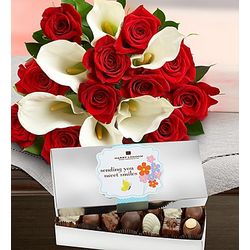 Romantic Red Rose and Calla with Chocolates