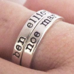 Personalized Hand Stamped Sterling Silver Name Ring