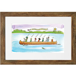 Personalized Family Canoe Art Print