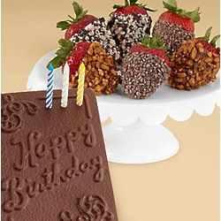 Chocolate Birthday Card and Half Dozen Strawberries