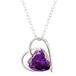 Open Heart Pendant with Birthstone Inside