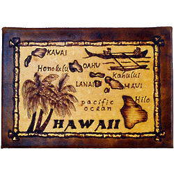 Hawaii Map Leather Photo Album in Natural