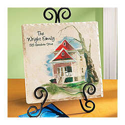 Personalized Painted House on Tumbled Marble Tile