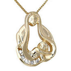 Baby with Mom Diamond Pendant in 14k Yellow Gold
