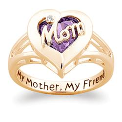 Mom Birthstone Heart Ring With Diamond Accent