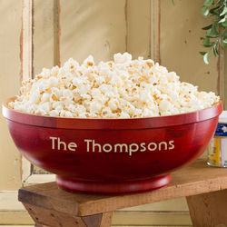 Hardwood Personalized Large Popcorn Bowl