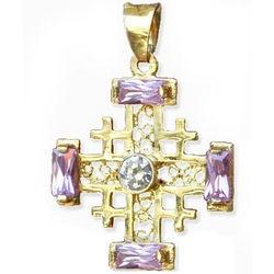 14K Gold Jerusalem Cross with Pink Zircon