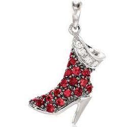 14k White Gold Diamond Ruby 3D High-Boot Bracelet Charm