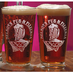 Personalized Old Time Pizzeria Theme Pint Glass Set
