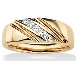 18k Gold Over Sterling Silver Men's Cubic Zirconia Diagonal Band