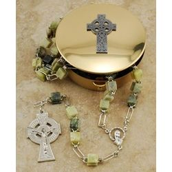 Connemara Marble Rosary and Rosary Case Gift Set