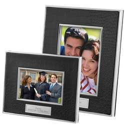 Black Leather Croc Picture Frame