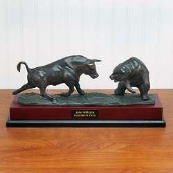 Executive Bull and Bear Bronze Sculpture