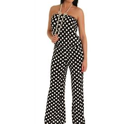 Black and White Polka Dot Strapless Romper