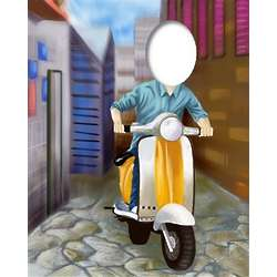Scooter Rider Caricature from Photo Art Print