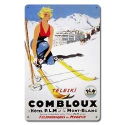 Teleski Combloux Metal Ski Sign