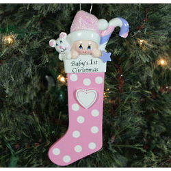 Baby's First Christmas Pink Stocking Ornament