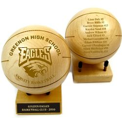 """Personalized Wood Basketball 4.5"""" Trophy"""