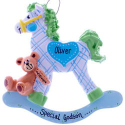 Personalized Special Godson Rocking Horse Ornament