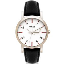 +5 40mm White with Black Leather Band Watch
