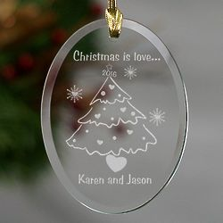 Christmas is Love Personalized Couple Ornament